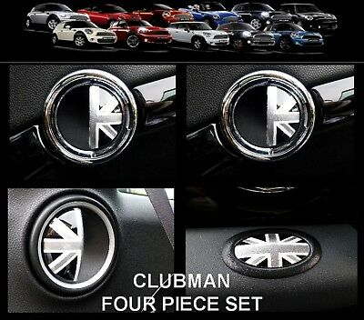 BMW MINI One/Cooper/S R55 CLUBMAN BLACK UNION JACK Door Handle/Glove Box Covers