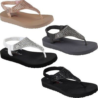 2f15bf395c5 Womens Skechers 31560 MEDITATION ROCK CROWN Rhinestone Flip Flops Sandals  Slides