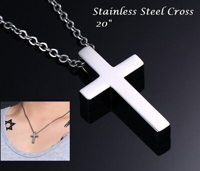 """20"""" Stainless Steel Silver Cross Necklace Link Chain Men Unisex Pendant Crucifix"""