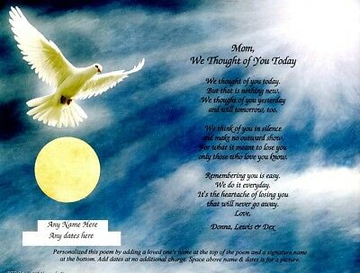 """We Thought of You Today"" Personalized Poem for Loss of Loved One Heavenly Dove"