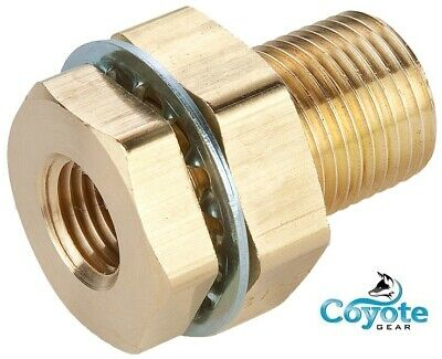 "1/8"" FNPT x 1/8"" FNPT 1.5"" Long Brass Bulkhead Coupling NPT Fitting Coyote Gear"