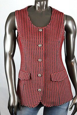 VTG First Edition Dallas Womens Double-Knit Black Red Checked Tunic Vest S/M