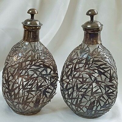 Pair pinched glass decanters silver overlay bamboo leaf pattern Chinese/Japanese