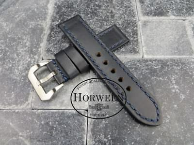 22mm Genuine HORWEEN Soft Cow Leather Strap Blue Watch Band Blue PANERAI X1