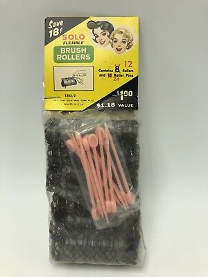 Vintage 1959 Solo Brush Rollers Hair Curlers Pins NOS
