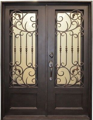 Bari Wrought Iron Entry Door with Choice of Operable Glass
