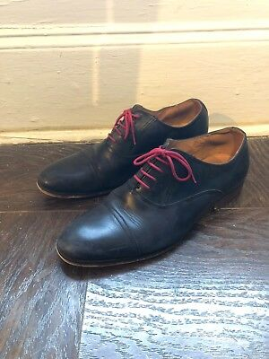3b855d81549 Steve Madden 3384 Mens Herbert Black Leather Oxfords Shoes 8 D with Red  Laces