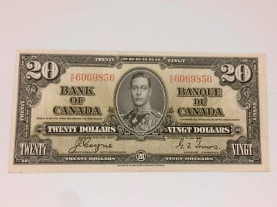 1937 Bank of canada 20 Dollars Coyne Towers K/E 6069856