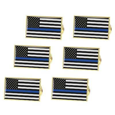 BESTOMZ American Flag Pin Thin Blue Line Police Lapel Pin Pack of 6 Style 1