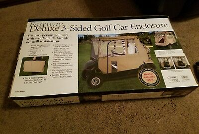 DELUXE 2-PERSON 3-SIDE GOLF CAR ENCLOSURE for E-Z-GO, CLUB CAR, YAMAHA & Others