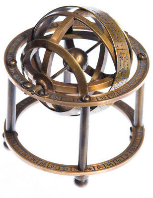 Antique Nautical Collectible Solid Brass Table Top Armillary Zodiac Sphere Globe
