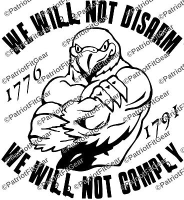 I WILL NOT COMPLY,I Will Not Disarm,Punisher,Molon Labe,Gun Rights,vinyl decal