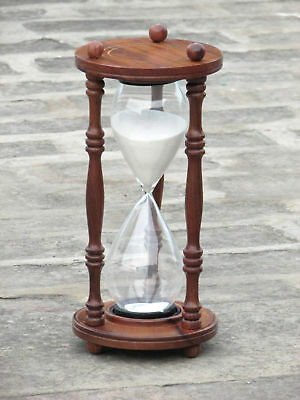 Antique Nautical Maritime Wooden Hourglass Sand Timer