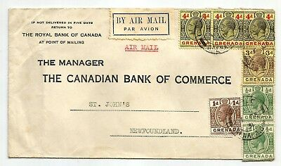 Grenada GV 1931 scarce cover to Canada with scarce 4d x3, 3d, 1d & 1/2d x2, Air