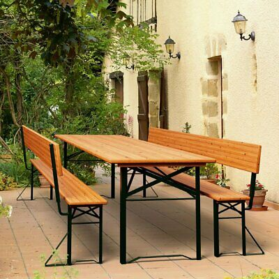 Outdoor Folding Trestle Table Bench Set with Backrest Wooden Garden Furniture