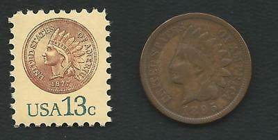 Key 1877 Indian Head Penny Cent Coin Experimental Midget US Stamp MINT CONDITION