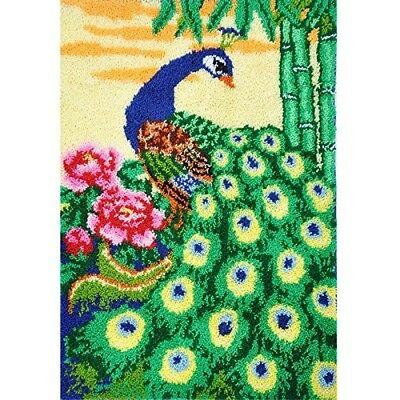 "Latch Hook Rug Kit""Peacock in the Garden"" 105x75cm"