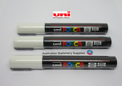3 x UNI POSCA PAINT PENS PC-5M BULLET tip 1.8mm to 2.5mm  NEW - White