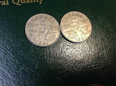 1931 5 Cent Canada, Canadian Nickel, Five Cents, (one coin)