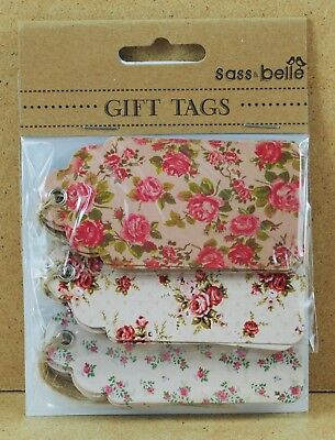 15 x Vitage Rose Floral Gift Tag Craft Present Wrapping Tags