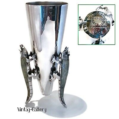 "LOS CASTILLO WOLMAR SILVERSMITHS 9"" IGUANA V-SHAPED VASE 🧐VINTAGE Collectable"