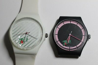 Lot of 2 - Diet 7Up watch collectable swiss made hand winding watches - READ DES