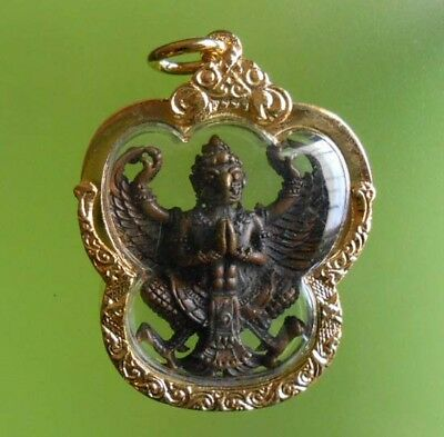 Perfect! Old Amulet Garuda Lp Warah For Protect From Siam !!!