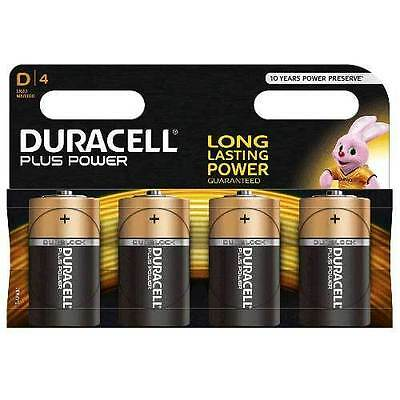 Duracell MN1300 Plus Power D Size Batteries, 4 Batteries In Retail Pack