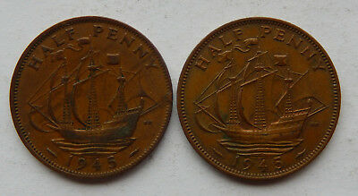 "1945 UK / Great Britain Half Penny Coin 1 VF, 1 UNC ""Lot of 2 Coins""  SB5081"