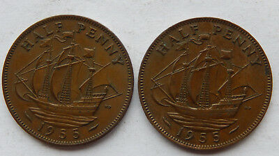"1955 UK / Great Britain Half Penny Coin ""Lot of 2 Coins""  SB5082"