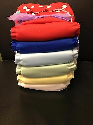 Charlie Banana Lot of 6 Cloth Diapers + 12 Deluxe Inserts Boy One Size NEW