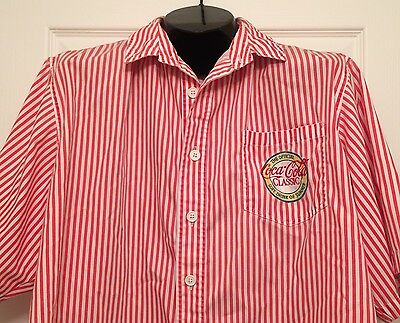 Vtg Coca Cola Classic Button Up Shirt Official Soft Drink Summer Coke Employee