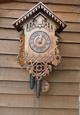 Antique Black Forest Carved Wood Cuckoo Clock- Old Mechanism- Good Working Order