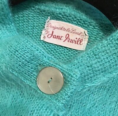 Jane Irwill Vintage 1950-60 Turquoise Teal Mohair Rockabilly Sweater Cardigan