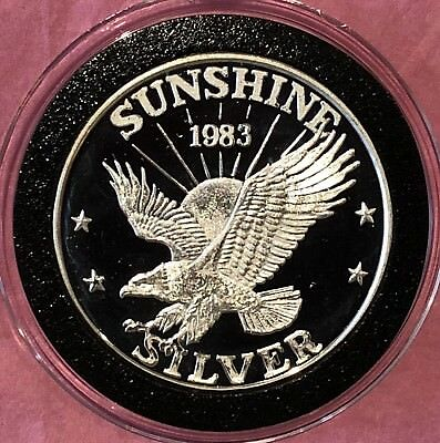 1983 Sunshine Mining 1 Troy Oz .999 Fine Silver Rare PROOF (NOT BU) Coin Round