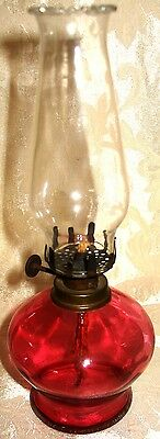 Gorgeous Victorian 1800's Miniature Cranberry Oil Lamp *Extremely RARE*