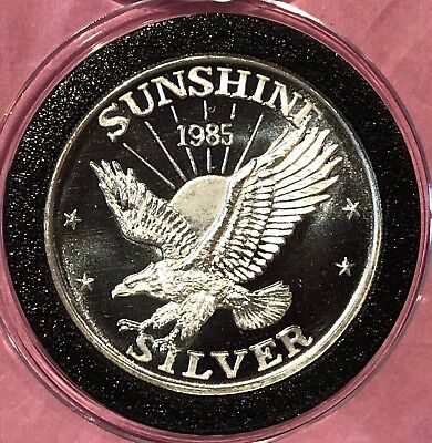 1985 Sunshine Mining Eagle 1 Troy Oz .999 Fine Silver Round Collectible Coin USA