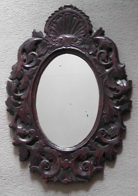 Early 19th Century Antique Carved Oak Wood Oval Mirror Shell Motif