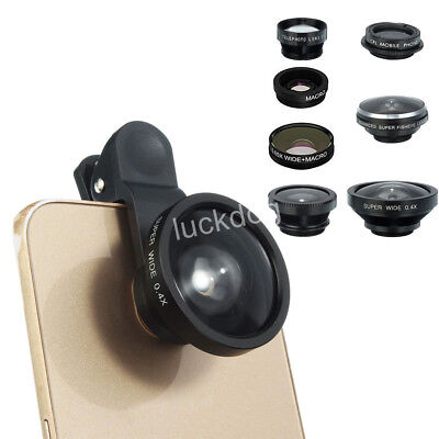 8in1 Clip On Camera Lens Kit Fisheye +Wide Angle +Macro for Cell Phone Universal