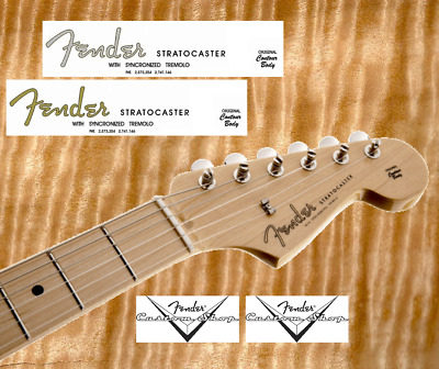 2 x Decalcomania Decal Fender Stratocaster Chitarra Guitar Gold  Grey Serial N°