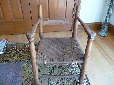 Great Primitive HAND MADE Childs Chair - Wood Bark Woven Seat - Great Condition