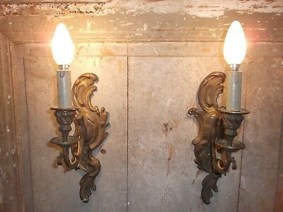 French a pair of dark patina gold bronze wall light sconces  antique