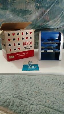 Vintage ARRCO Playing Card Shuffler with Original Box and Instructions Blue/Gray