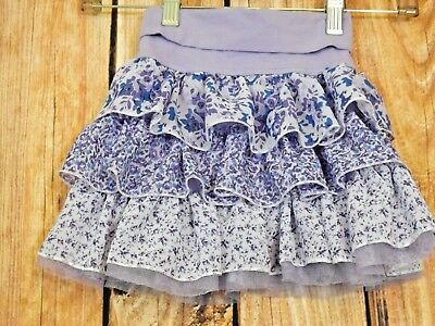 Est. 1989 Girls Purple Layered Ruffle Floral Skirt Size 5