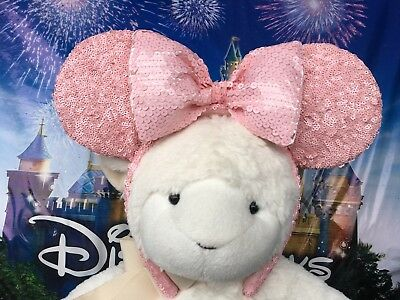 New Disneyland Parks Millennial Pink Minnie Mouse Bow Ears Disney Headband
