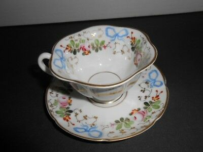 Vintage Portugal Demitasse Floral Tea Cup and Saucer Gold Trim