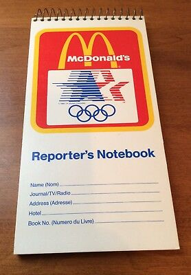 1984 Olympics McDonald's Reporter's Notebook Vintage Los Angeles