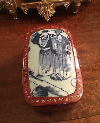 Antique Chinese Porcelain And Wood Lacquer Box.