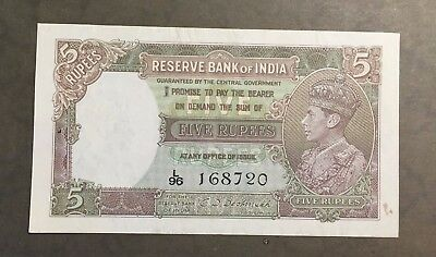 Uncirculated 1943 King George VI India 5 Rupees with appropriate pinholes L96
