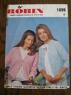 Vintage Ladies Hand Knitted Bed Jacket Robin Pattern No 1899 In 6